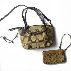 Coach signature dome crossbody bag and wristlet